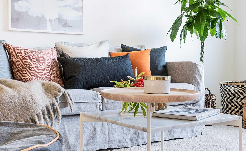 Inspiration vardagsrum detaljbild i nyproducerad hyresrätt hos Balder