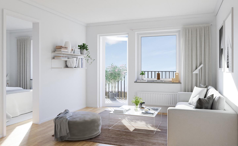 Vardagsrum i nyproducerad lägenhet i Kv. Skogsflyet i Rambodal, Norrköping