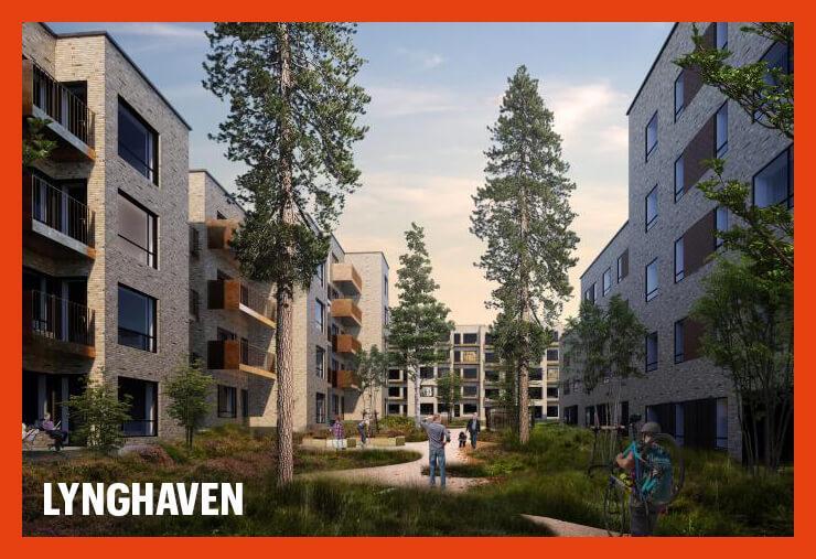 Visualisering av Lynghaven i Danmark där våra nyproducerade lägenheter beräknas vara inflyttningsklara 2021