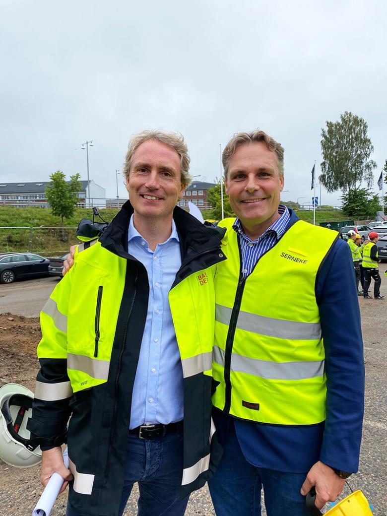 Erik Selin, VD Fastighets AB Balder, och Ola Serneke, VD Serneke Group, i Borås för spadtag för kvarteret Björnflokan